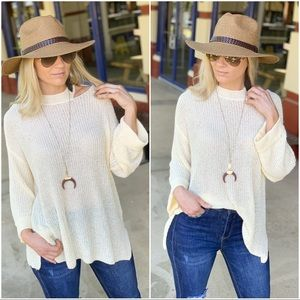 Infinity Raine Sweaters - Cream Sweater with Cut Out Shoulder